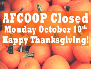 AFCOOP Closed Monday Oct. 10th